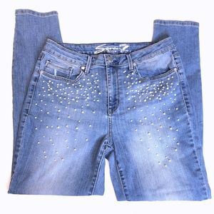 7 For All Mankind Mid-Rise Skinny Beaded Jeans